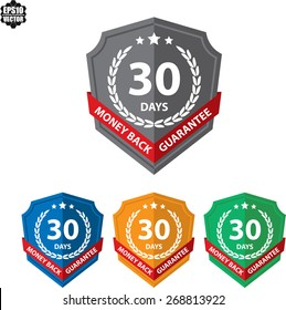 60 Days Money Back Guaranteed Label And Sticker With Green Badge Sign. Vector illustration
