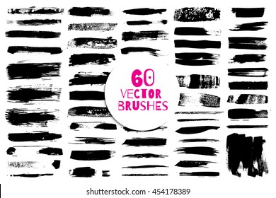 60 different grunge vector brush strokes. Variety of paint stripes. Distressed banners. Isolated paint brush set. Dry borders.