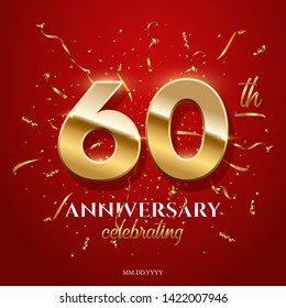 60 golden numbers and Anniversary Celebrating text with golden serpentine and confetti on red background. Vector sixtieth anniversary celebration event square template