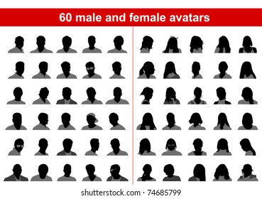 60 male and female avatars. Vector