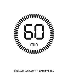 The 60 minutes, stopwatch vector icon, digital timer. clock and watch, timer, countdown symbol.