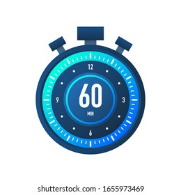 The 60 minutes, stopwatch vector icon. Stopwatch icon in flat style on a white background. Vector stock illustration.