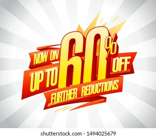 Up to 60% off, further reductions sale banner design concept