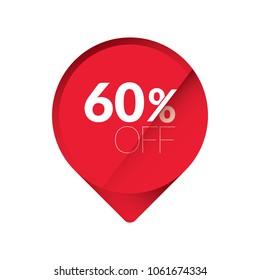 % 60 off red sticker