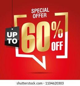 60 percent off sale isolated gold red sticker icon