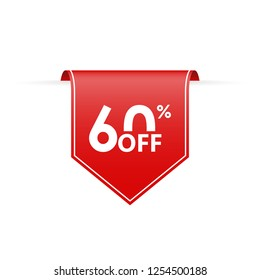60 percent off. Sale tag ribbon or pennant. Price off and discount badge. Vector illustration.
