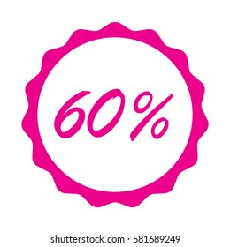 60 Percent % sign vector illustration with scalloped sunburst seal sticker background for retail marketing or price reduction sale