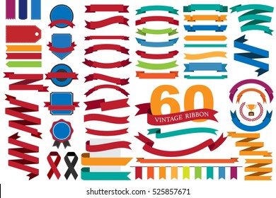 60 retro ribbons and labels.illustration eps10