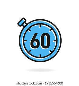 60 second timer clock icon flat design isolated on white background. Vector illustration