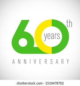 60 th anniversary numbers. 60 years old congrats, colorful logotype. Congratulation idea. Isolated abstract graphic design template. Coloured digits. Up to 60% off discount. Anniversary logo concept.