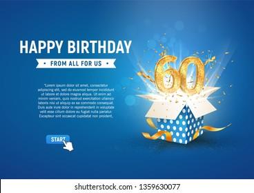 60 th years anniversary banner with open burst gift box. Template sixtieth birthday celebration and abstract text on blue background vector illustration