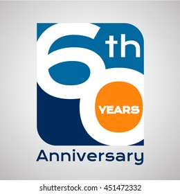 60 th years anniversary with square shape