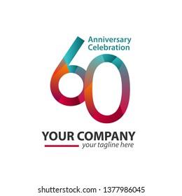 60 Year Anniversary Celebration Company Vector Template Design Illustration