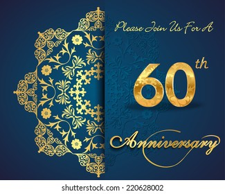 60 year anniversary celebration pattern design, 60th anniversary decorative Floral elements, ornate background, invitation card - vector eps10