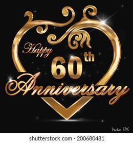 60 year anniversary golden heart, 60th anniversary decorative golden heart design - vector eps10