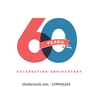 60 years anniversary celebration colorful logo with fireworks on white background. 60th anniversary logotype template design for banner, poster, card vector illustrator