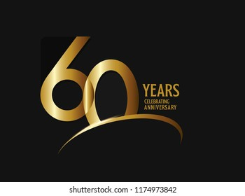 60 years anniversary celebration design. anniversary logo with swoosh and golden color isolated on black background, vector design for greeting card and invitation card.