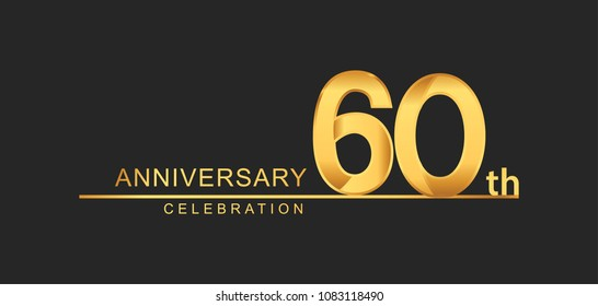 60 years anniversary celebration with elegant golden color isolated on black background, design for anniversary celebration.