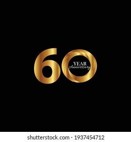 60 Years Anniversary Celebration Gold Black Background Color Vector Template Design Illustration