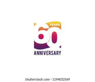 60 Years Anniversary Celebration Icon Vector Logo Design Template. Gradient Flag Style.