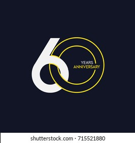 60 years anniversary celebration linked number logo, isolated on dark background