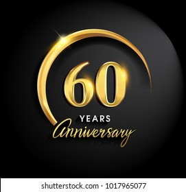 60 years anniversary celebration. Anniversary logo with ring and elegance golden color isolated on black background, vector design for celebration, invitation card, and greeting card
