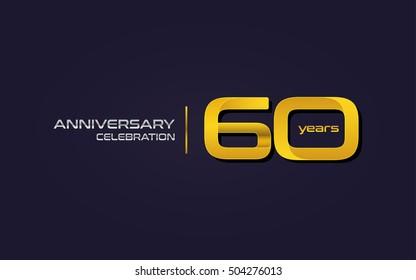 60 Years Anniversary Celebration Logo, Yellow, Isolated on Dark Purple Background