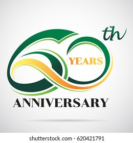 60 years anniversary celebration logo design with decorative ribbon or banner. Happy birthday design of 60th years anniversary celebration.