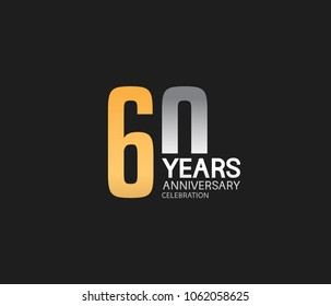 60 years anniversary celebration logotype. anniversary logo with golden and silver combination isolated on black background, vector design for celebration, invitation card, and greeting card