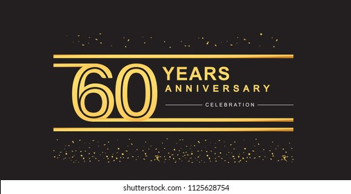 60 years anniversary celebration logotype with golden multiple line and confetti golden color isolated on black background, vector design for greeting card and invitation card