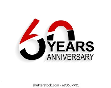 60 years anniversary celebration logotype. anniversary logo with red, white and black color isolated on white background, vector design for celebration, invitation card, and greeting card