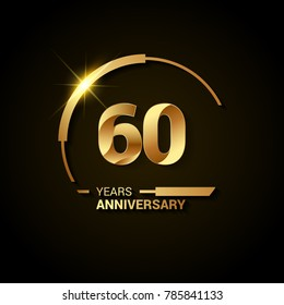 60 Years Anniversary Celebration Logotype. Golden Elegant Vector Illustration  with Swoosh or Half Circle,  Isolated on Black Background can be use for Celebration, Invitation, and Greeting card