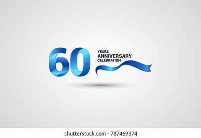 60 Years Anniversary celebration logotype colored with shiny blue, using ribbon and isolated on white background