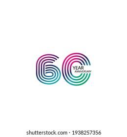 60 Years Anniversary Celebration Rainbow Color Vector Template Design Illustration