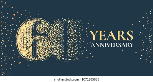 60 years anniversary celebration vector icon, logo. Template horizontal design element with golden glitter stamp for 60th anniversary greeting card