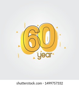 60 years anniversary celebration Yellow Colors Comical Design logotype. anniversary logo isolated on White background, vector Horizontal number design for celebration -vector