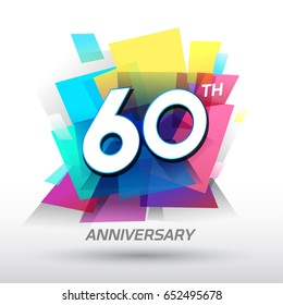 60 years Anniversary with confetti and celebration background, logo design template