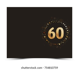 60 years anniversary decorated greeting / invitation card template with gold elements.
