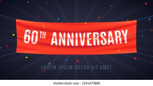 60 years anniversary design celebration. Red flag anniversary bithday decoration party event 60th.