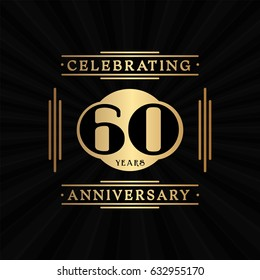 60 years anniversary design template. Vector and illustration.