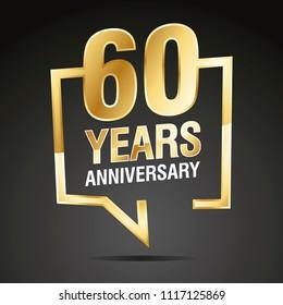 60 Years Anniversary gold white black logo icon