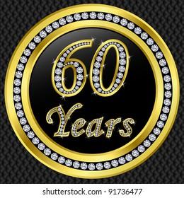 60 years anniversary golden happy birthday icon with diamonds, vector illustration
