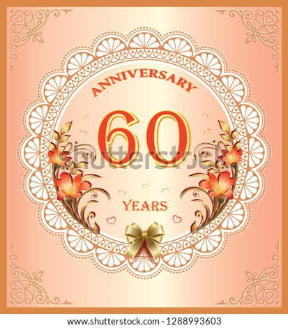 60 Years Anniversary Happy Birthday Celebrations Greeting Cards Background Vector Illustration