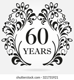 60th wedding anniversary images stock photos vectors shutterstock 19 Year Wedding Anniversary 60 years anniversary icon in ornate frame with floral elements template for celebration and congratulation