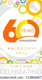 60 years anniversary invitation card, celebration template concept. 60th years anniversary modern design elements with background colored circles. Vector illustration