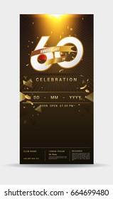 60 years anniversary invitation card - shiny gold celebration template design ,vector illustration