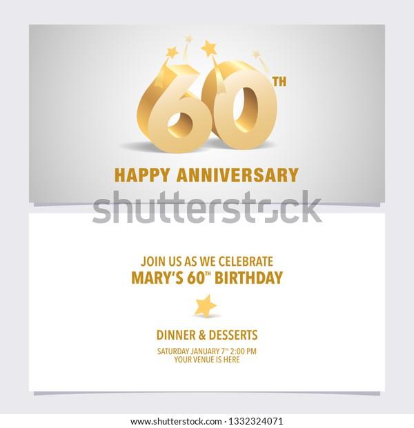 60 Years Anniversary Invitation Card Vector Royalty Free