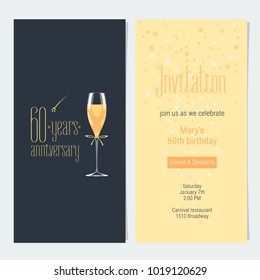 60 years anniversary invitation vector illustration. Design element with icon with age, lettering and bodycopy template for 60th anniversary greeting card, party invite