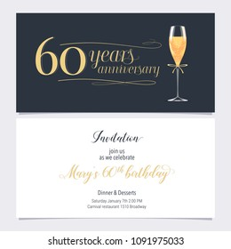 60 years anniversary invitation vector illustration. Graphic design element with glass of champagne  for 60th birthday card, party invite