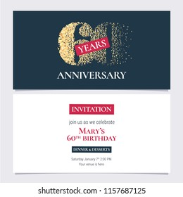 60 years anniversary invitation vector illustration. Design template with golden number for 60th anniversary party or dinner invite with body copy